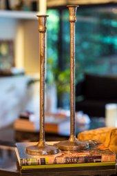 2li Antique Uzun Gümüş Şamdanlık