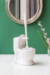 Dekoratif Beyaz Klozet Fırçası
