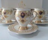 Ipek Porselen Altın Yaldızlı 6 Kişilik Kahve...