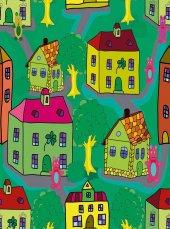 EUROSER Renkli Evler Desenli Çocuk Halısı-2