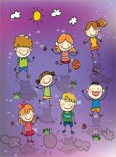 EUROSER Sevimli Çizgi Çocuklar Desenli Çocuk Halısı-2