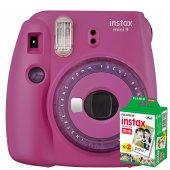 Instax Mini 9 Makine + 20 'li Film+ Askı +pil (Mor)
