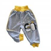 Kız Erkek Bebek Penguen Baskılı Kadife Eşofman Altı 3 18 Ay Sarı C70838