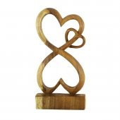 30cm Dekoratif Ahşap Üçlü Kalp Figürü, El Oyması Doğal Biblo