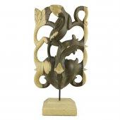 32cm Dekoratif Ahşap Otantik Maske, Doğal El Oyması