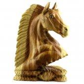 50cm Ahşap At Kafası Figürü, El Oyması, Dekor, Obje, Biblo-7