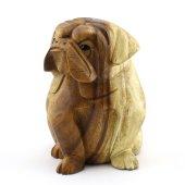 15cm Dekoratif Ahşap Sevimli Köpek Figürü, El Oyması Doğal