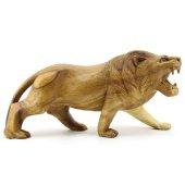 30cm Genişliğinde Dekoratif Ahşap Aslan Figürü, El Oyması Doğal-2