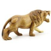 30cm Genişliğinde Dekoratif Ahşap Aslan Figürü, El Oyması Doğal-3