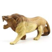 30cm Genişliğinde Dekoratif Ahşap Aslan Figürü, El Oyması Doğal-7
