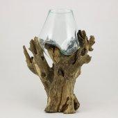40.5cm Dekoratif Kütük Üzerinde Mini Cam Fanus Akvaryum,el Yapımı