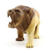 30cm Genişliğinde Dekoratif Ahşap Aslan Figürü, El Oyması Doğal-8