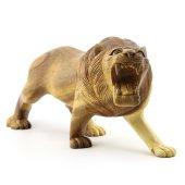 30cm Genişliğinde Dekoratif Ahşap Aslan Figürü, El Oyması Doğal-9