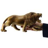 30cm Genişliğinde Dekoratif Ahşap Aslan Figürü, El Oyması Doğal-10