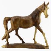 51cm Dekoratif Tabanlı Yürüyen Ahşap At Figürü, El Oyması