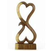 30.5cm Dekoratif Ahşap İkili Kalp Figürü, El Oyması Biblo