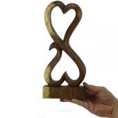 30.5cm Dekoratif Ahşap İkili Kalp Figürü, El Oyması Biblo-2