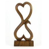 30.5cm Dekoratif Ahşap İkili Kalp Figürü, El Oyması Biblo-6
