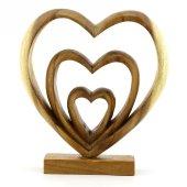 27cm Dekoratif Ahşap Üçlü Kalp Figürü, El Oyması, Biblo, Obje-2