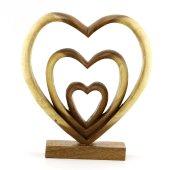 27cm Dekoratif Ahşap Üçlü Kalp Figürü, El Oyması, Biblo, Obje-3