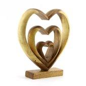 27cm Dekoratif Ahşap Üçlü Kalp Figürü, El Oyması, Biblo, Obje-4