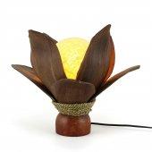 28cm Dekoratif Masaüstü Açık Kahve Yaprak Lamba, El Yapımı