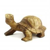 31cm Genişliğinde Dekoratif Ahşap Kaplumbağa Figürü, El Oyması