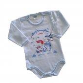 Kız Erkek Bebek Önü Ayıcık Baskılı Uzun Kol Çıtçıtlı Zıbın 9 18 Ay Beyaz C71620