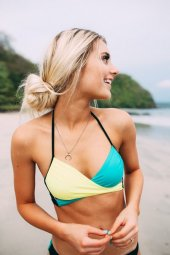 Angelsin Renkli Şık Tasarım Bikini Üst