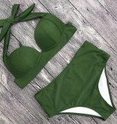 Angelsin Yeşil Yüksek Bel Bikini-4