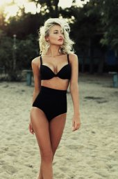 Angelsin Siyah Yüksek Bel Kaplı Bikini Üst
