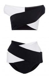 Angelsin Siyah Beyaz Çapraz Bikini Takım-3