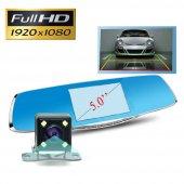 GP50HD 5 inç IPS Ekran Türkçe Metal Dikiz Ayna Araç Kamerası Geri Görüş Kamerası