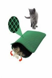 Mia Cat Elekli Kedi Tuvalet Önü Paspası 60 X 45 Cm Yeşil