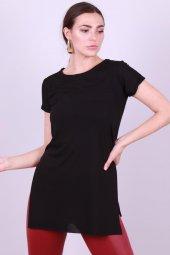 Kadın Bisiklet Yaka Yan Yırtmaç Basic T Shirt Siyah 3084