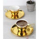 2 Li Gold Kaplama Gold Standlı Beyaz Porselenli Kahve Fincanı