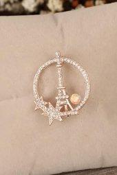 Zirkon Taşlı Paris Kulesi Figürlü Broş