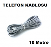 Telefon Kablosu 10 Metre 2 Ucu Jacklı Rj11 Köken Kablo Adsl Modem Ara Kablo Presli