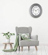 Rikon Oval Deniz Kabuğu Gümüş Renk Dekoratif Duvar Saati 48X42 Cm-2