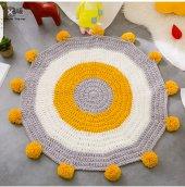 çocuk Odası Halısı,genç Odası Halısı Ponponlu Hardal Sarısı