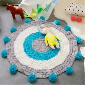 Çocuk Odası Halısı,Genç Odası Halısı Ponponlu-Sarı,Mavi Renk