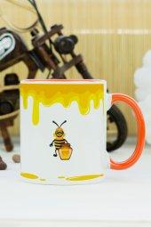 Arı Tasarımlı Kupa Bardak Turuncu
