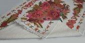 Çift Taraflı Çiçek Desenli Beyaz Yıkanabilir İnce Kilim - HS81009-2