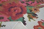 Çift Taraflı Çiçek Desenli Beyaz Yıkanabilir İnce Kilim - HS81009-3