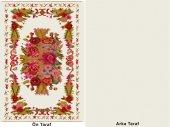 Çift Taraflı Çiçek Desenli Beyaz Yıkanabilir İnce Kilim - HS81009-4