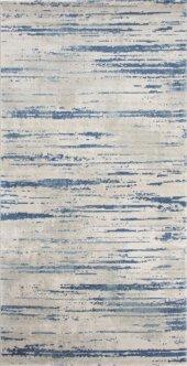 Gri Mavi Çizgili İnce Oturma Odası Halısı Halı Hs91803f