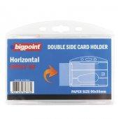 Bigpoint Çift Taraflı Kart Kabı Yatay Şeffaf 90x55mm