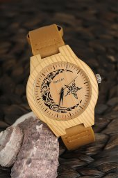 Watchart Erkek Kol Saati Ahşap Görünüm Ay Yıldız Motif