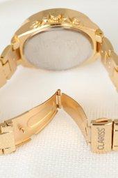 Clariss Kadın Kol Saati Gold Renk Taşlı Kasa Kırmızı Kadran-2