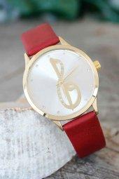 Elif Vav Tasarımlı Bordo Renk Deri Kordonlu Bayan Saat